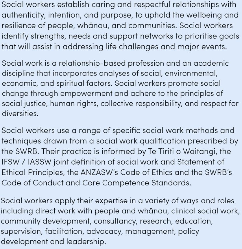 Scope of Practice Social Workers Registration Board